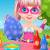 BABY BARBIE SUPERHERO COOKING COTTON CANDY