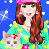 BARBIE WITH KITTY DRESS UP