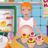 PREGNANT MOM COOKING MUFFINS
