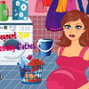PREGNANT MOM WASHING CLOTHES